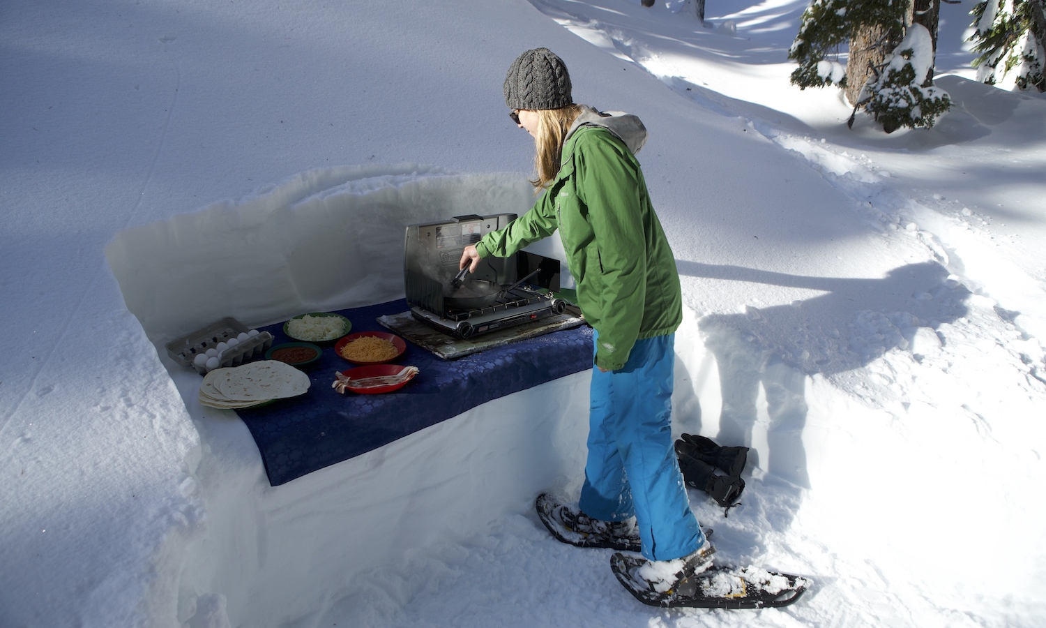 Cooking Breakfast on the Snow